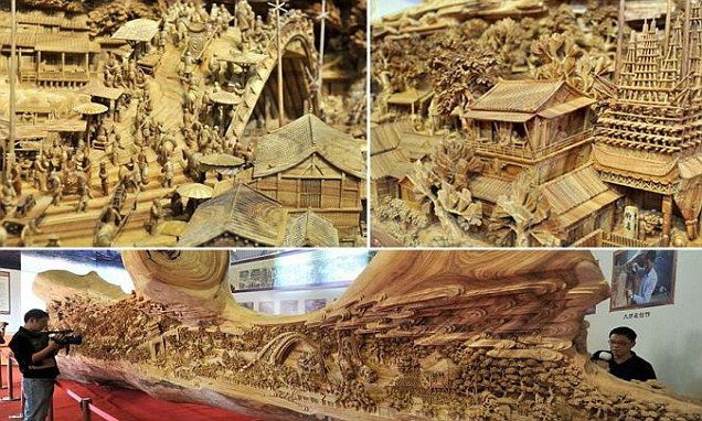 A whittle goes a long way! Chinese wood art breaks record for longest carving out of single piece of timber