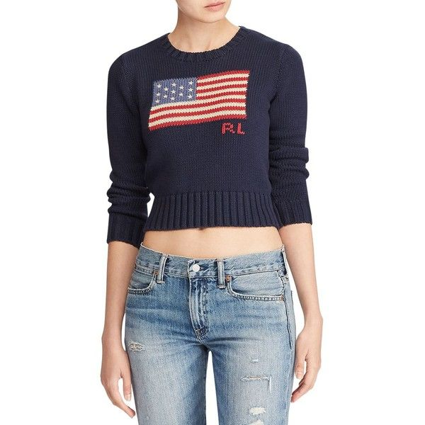 Polo Ralph Lauren Women's Cropped Flag Knit Sweater ($145) ❤ liked on Polyvore featuring tops, sweaters, navy, crew neck sweater, navy sweater, blue knit sweater, crewneck sweaters and knit sweater