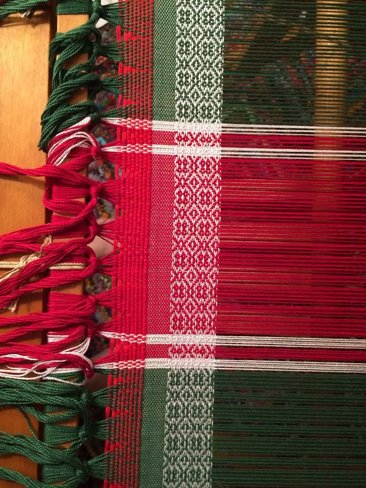 Jane Perilloux4-Shaft Weaving 12 hrs · Had a major warping error in the middle but it's finally fixed and now weaving my Christmas table runner https://www.facebook.com/photo.php?fbid=10205066929065056