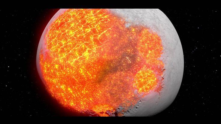 Diese beindruckende Animation lässt uns erahnen, welche Kräfte gewirkt haben, bis ein solches Stück Gestein entsteht. Zunächst schien die Mondoberfläche ziemlich unperforiert, bis dann Gesteinseinschläge die charakteristischen Krater entstehen liessen…