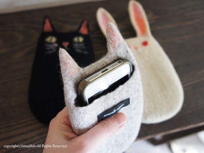 2015.5.10ワークショップ ねことうさぎのスマートフォンケース[workshop information - cat&rabbit smartphone case Felt Fulling Lab-Ryoko Hirota]20150501