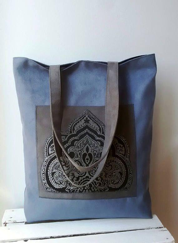 Blue and gray tote bag Vegan tote bag Large tote bag Oriental fabric bag Bohemian tote bag Zippered bag Shopper  Oriental bag College tote