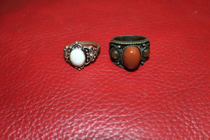 lot bague perle pierre indien fantaisie vintage hippie/ethnique/africain chic