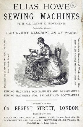 the first sewing machine by elias howe | Elias Howe sewing machine, 1871.