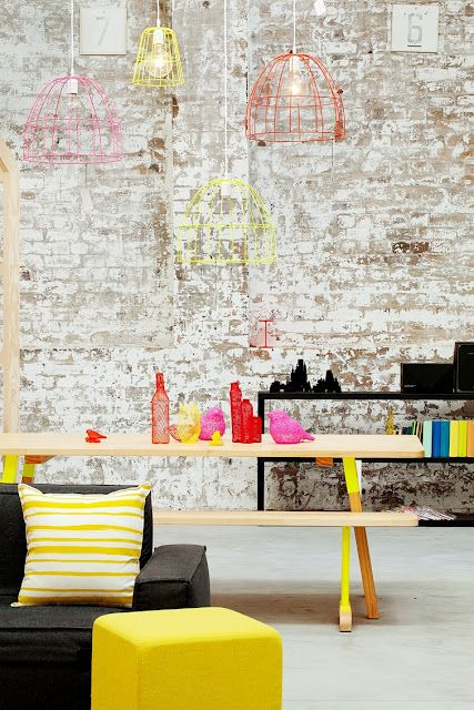 Wall with an industrial edge, with clean, bright pops of colour