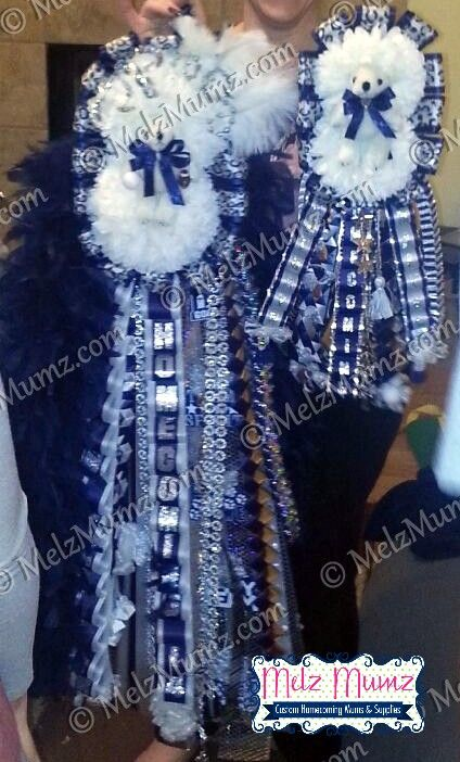MelzMumz.com Deluxe Double Homecoming Mum and Mega Double Homecoming Garter Matching Set  Flower Mound High School