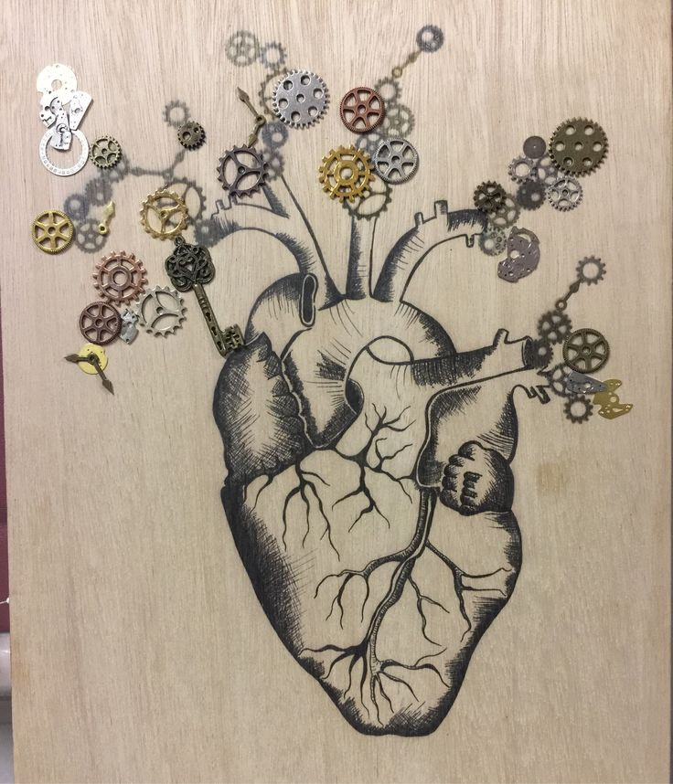 """Lisa's Heart"" steampunk print on A3 marine-grade plywood"