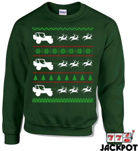I'd sport this! 4X4 Jeep Ugly Christmas Sweater Truck Hoodie Gifts by JackPotTees