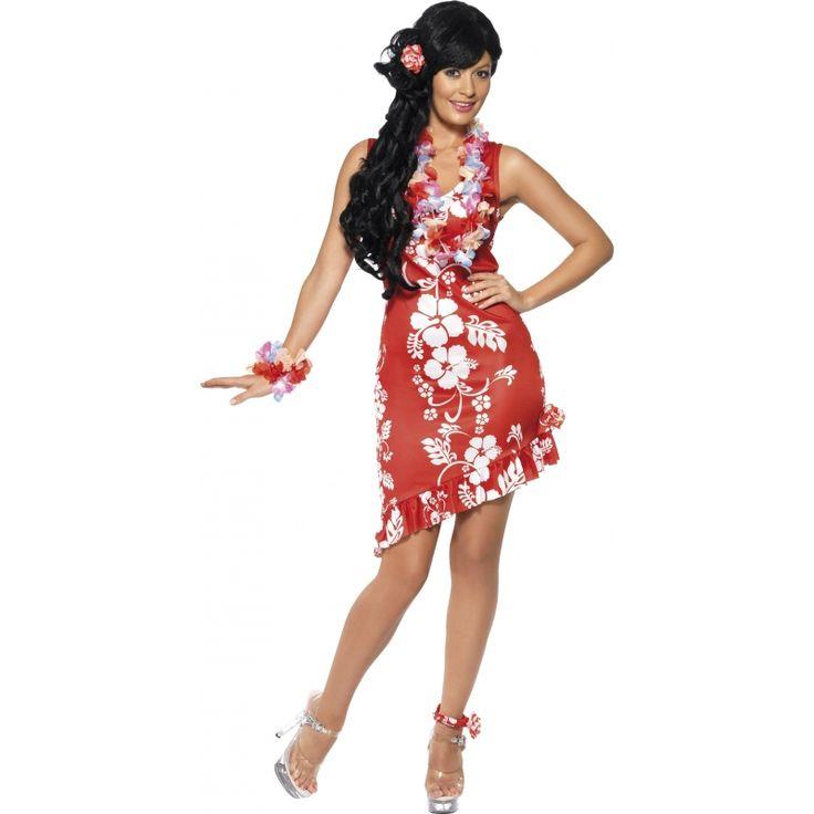 Rood Hawaii jurkje met accessoires. Vrolijk rood hawaii jurkje met witte bloemen. Bij het jurkje zit een kleine rood/witte hawaii krans voor de enkel en een elastiekje met een rood bloemetje voor in het haar. Alleen in maat medium leverbaar. Medium: heupomtrek van 100 tot 104 cm, borstomtrek van 94 tot 98 cm.