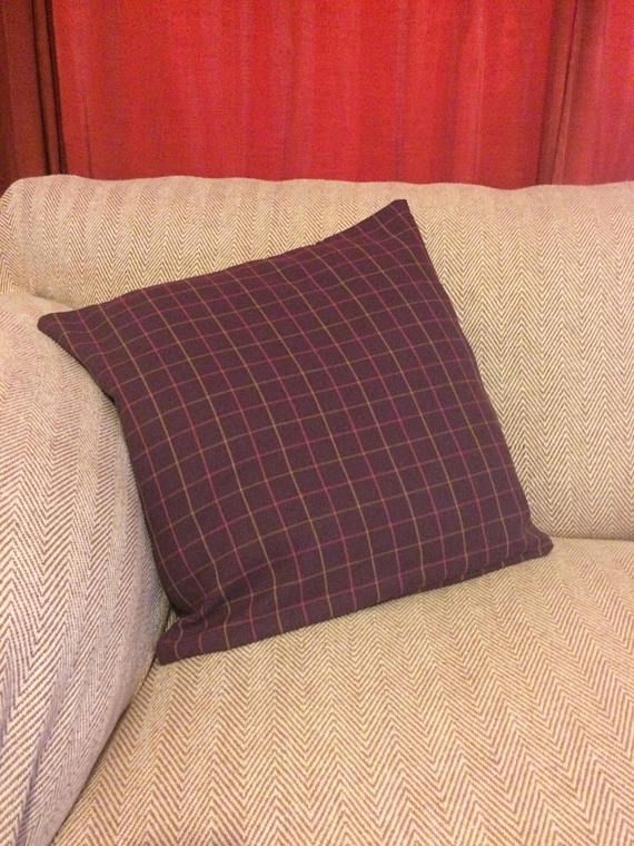 Handmade Plaid Dusky Purple Cushion Cover with Pink and Orange Plaid Pattern Handmade cushion cover in a deep mauve colour with orange and pink square grid pattern 45cm/17 Square Closed with an envelope closure- no fiddly zips. Cushion cover only. Depending on resolution of