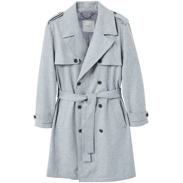 Wool Trench (3.225 ARS) ❤ liked on Polyvore featuring outerwear, coats, lapel coat, wool trench coat, trench coats, woolen trench coat and woolen coat