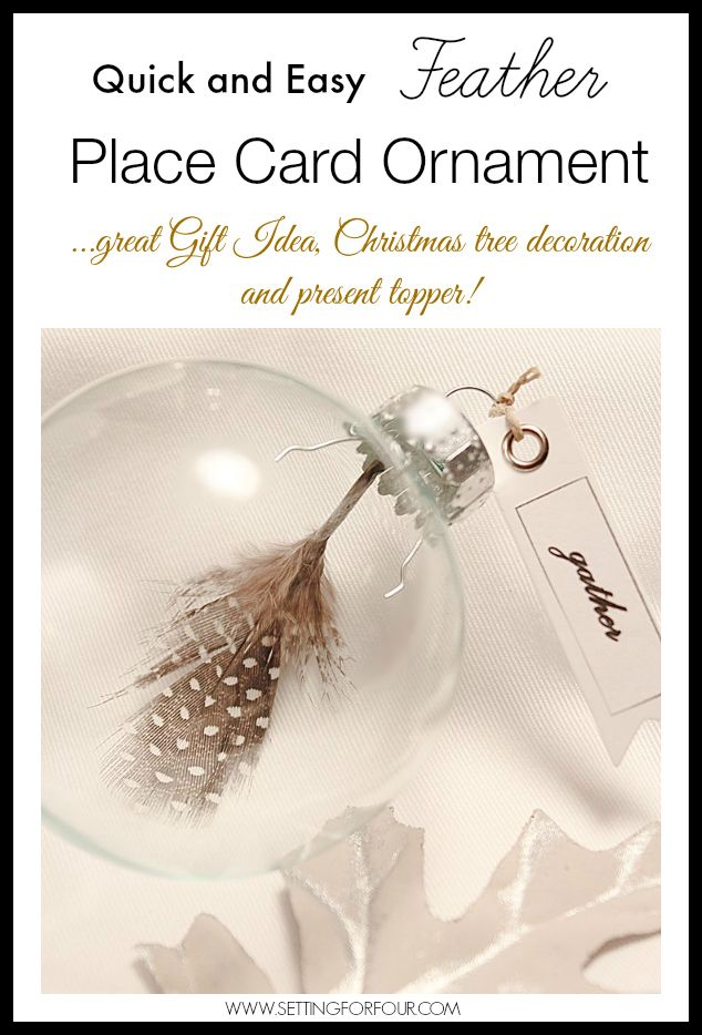 easy diy feather place card ornament xmas