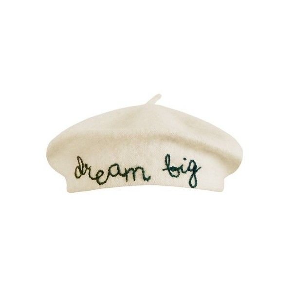 Cynthia Rowley Dream Big Beret ($125) ❤ liked on Polyvore featuring accessories, hats, green, green beret, green hat, cynthia rowley, green beret hat and embroidery hats