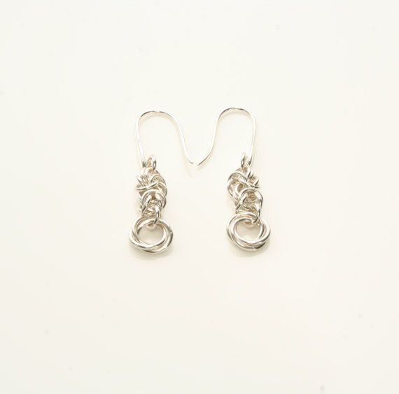 Sterling Silver Byzantine Chainmaille Earrings with Mobius Flower