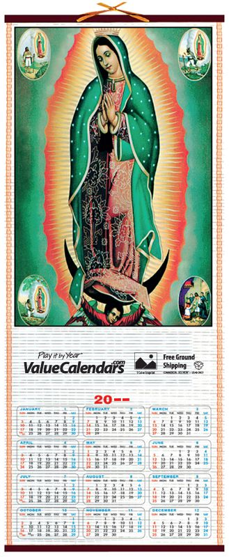 "2017 Religious Cane Wall Scroll Calendar | 12-1/2"" x 30"" Customized Scroll Calendars, scroll advertising calendar business, logo bamboo scroll roll calendar, valuecalendars.com, our lady of guadalupe, unique calendars, promotional calendars, business logo calendar, span a year calendars, 2017 wall calendar, business gift, advertisement, business advertising cheap, custom calendars, bamboo calendar, rosary, unique promotional calendar, religious calendar, church calendars, colorful calendar"