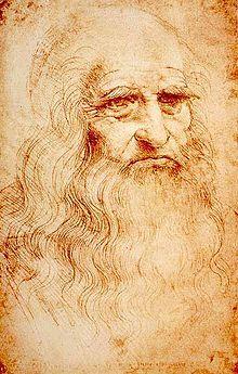 Leonardo da Vinci - Self-portrait in red chalk, circa 1512 to 1515 = BornApril 15, 1452, Vinci, Italy, near Florence
