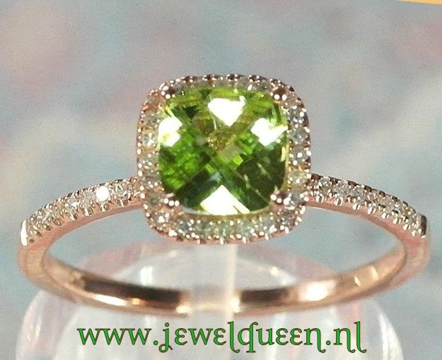 10k rose gouden ring met peridot, cushion cut en witte diamant              WWW JEWELQUEEN NL