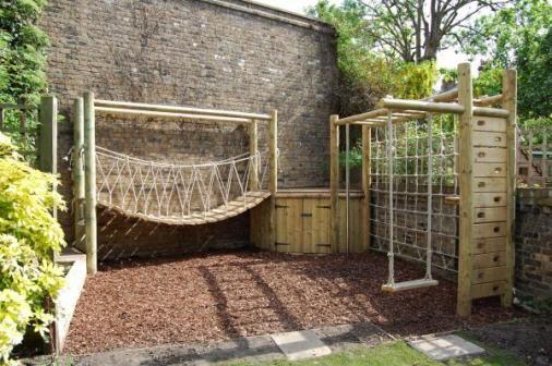 Wobbly Rope Bridge, Scramble Net & Traditional Oak Swing. JC Gardens