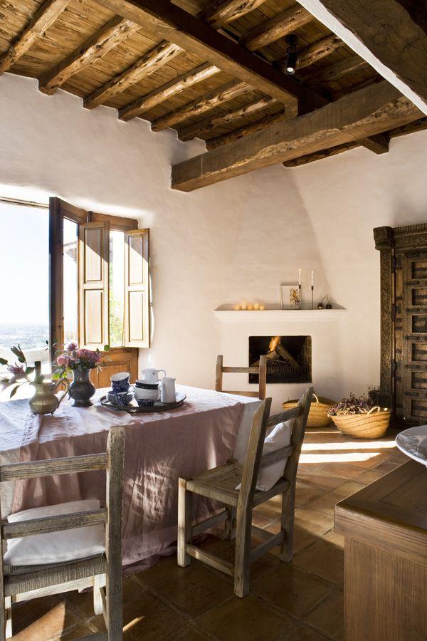 terra cotta floors. beams. fireplace. warm & welcoming breakfast room