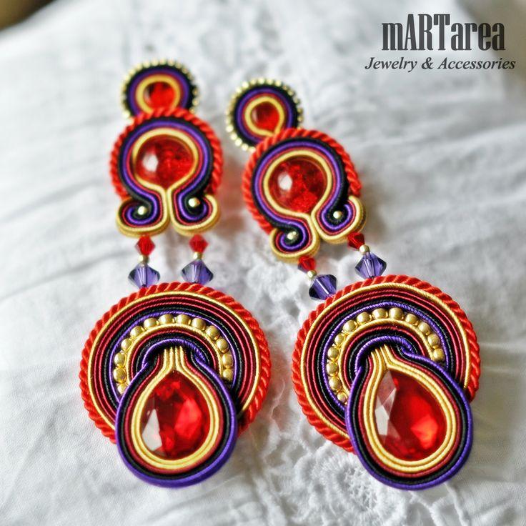 Earrings; soutache