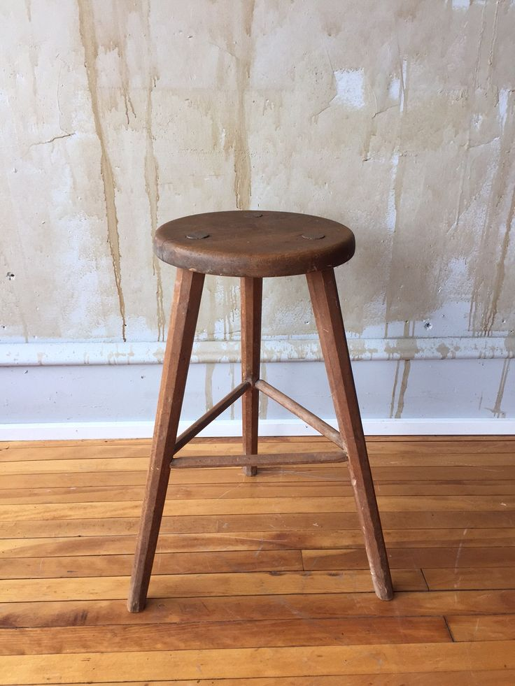 Vintage Italian Wooden Stool The Round Seat And Three