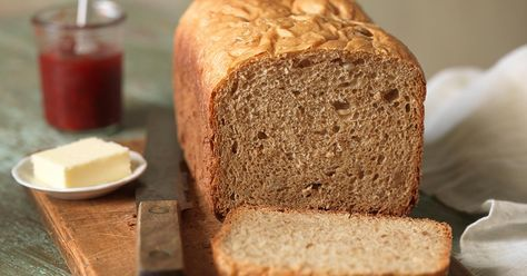Whole wheat bread machine bread. ~I subbed 1 cup spelt flour, use honey, added 2 tsp whole-grain bread improver