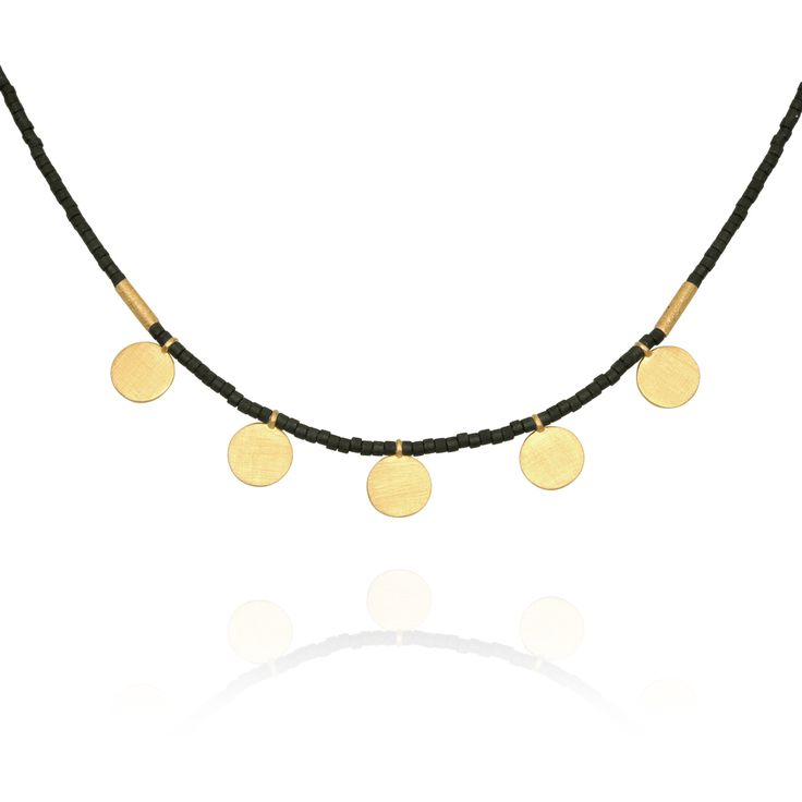 TEMPLE OF THE SUN JEWELLERY BYRON BAY - Seed Bead Necklace with Gold Disc Matt Black, $129.00 (http://www.templeofthesun.com.au/seed-bead-necklace-with-gold-disc-matt-black/)