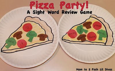 Have a Pizza Party & practice sight words, letter recognition and sounds, number recognition, math facts & more! A fun way to play to learn #Momto2PoshLilDivas