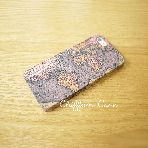 World Map iPhone 4 Case , iPhone 4S Case, iPhone 4 Cover, Cute iPhone Case, Unique Apple iPhone 4S Cases, Hard Case - Retro Antique Old Map