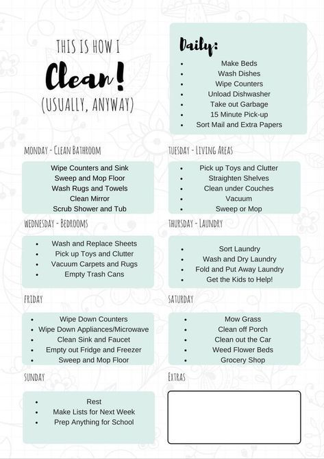 FREE Printable Daily Cleaning Schedule It Will Keep You On Track Throughout The Week So Always Have A Clean Home
