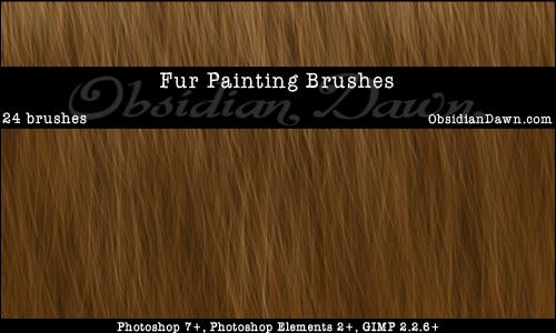 Obsidian Dawn Photoshop & GIMP Brushes - Fur (various brushes made for painting realistic fur)
