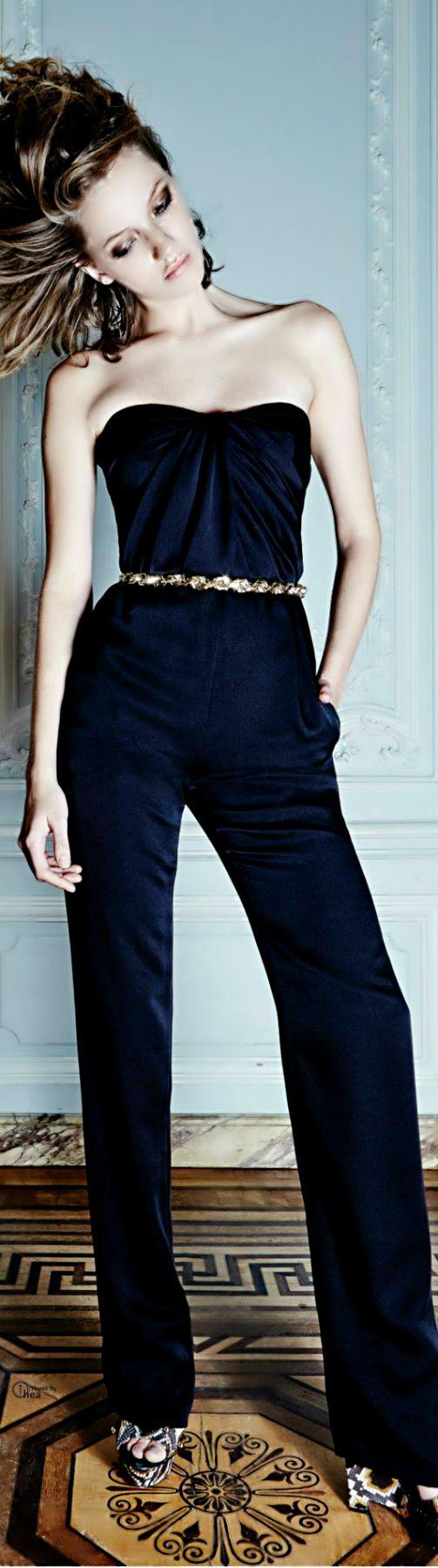 Azzaro black strapless jumpsuit jumper #UNIQUE_WOMENS_FASHION http://stores.ebay.com/VibeUrbanClothing