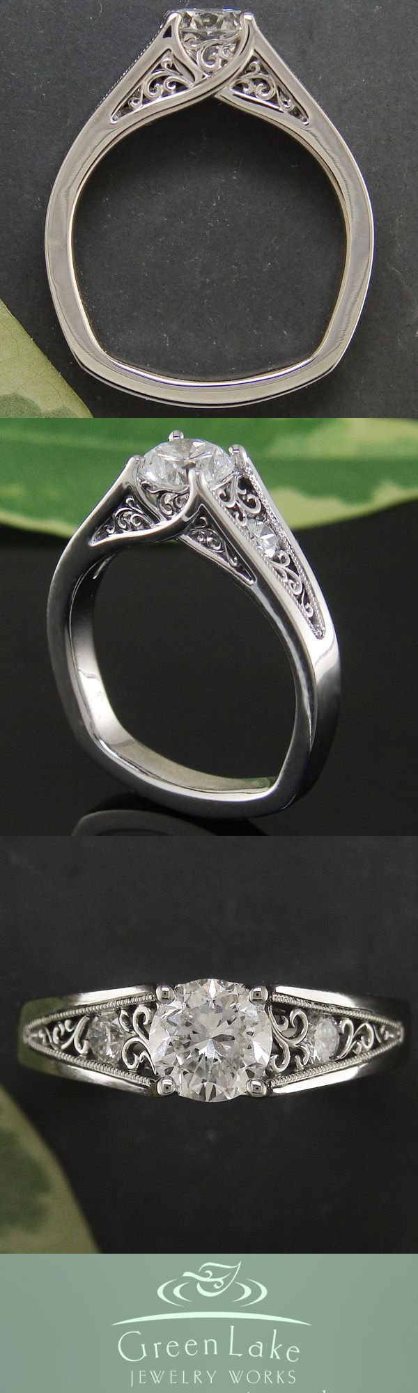 Diamond and palladium ring accented by ornately crafted filigree