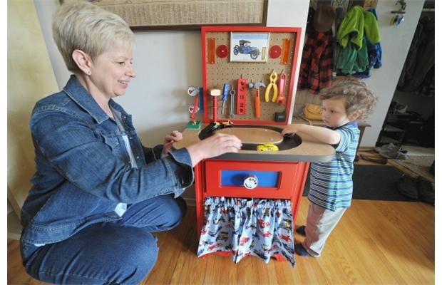 This creative grandma upcycled an old bedside table into a Hot Wheels test track for her two-year-old grandson.