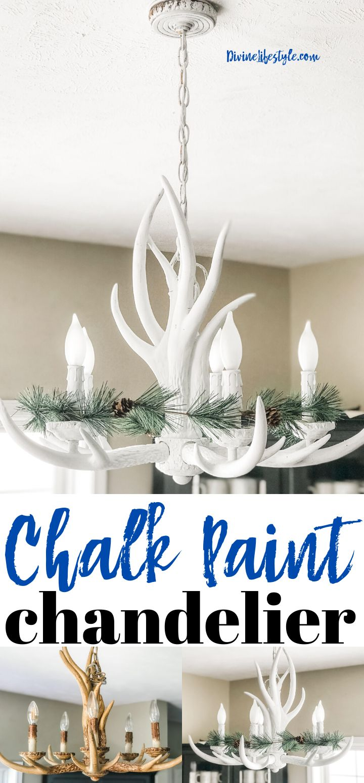 Chalk Paint Upcycle Antler Chandelier Divine Lifestyle in ...