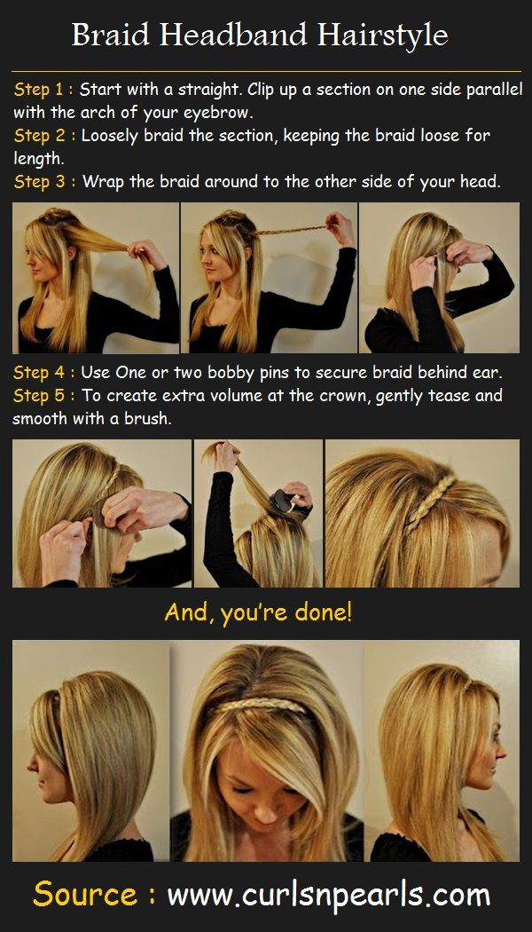 Braid Headband Hairstyle | Pinterest Tutorials  @Elizabeth Henry You should do this for Valen Dance