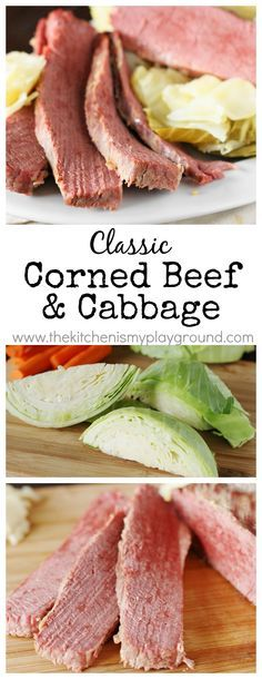 Corned Beef and Cabbage ~ slow-simmered corned beef with cabbage is so tender and good! www.thekitchenismyplayground.com