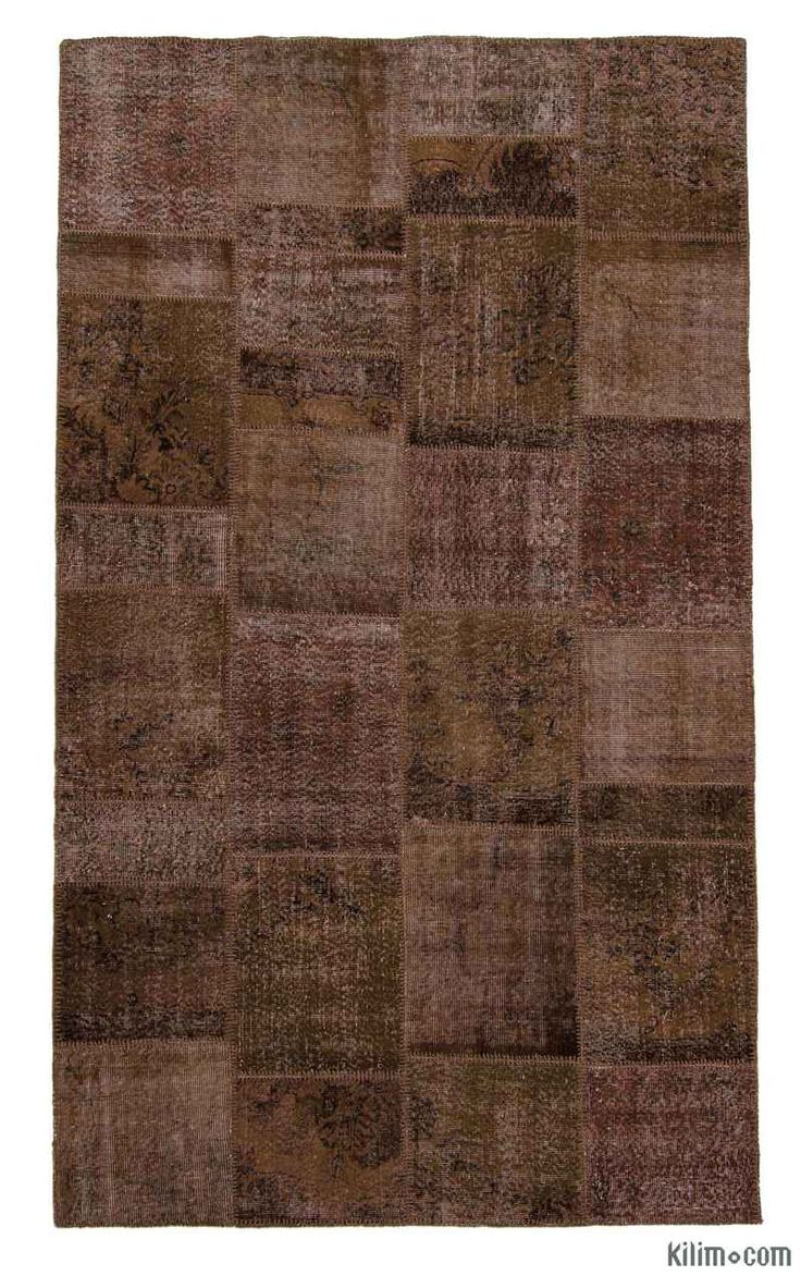 K0006067 Brown Over-dyed Turkish Patchwork Rug | Kilim Rugs, Overdyed Vintage Rugs, Hand-made Turkish Rugs, Patchwork Carpets by Kilim.com
