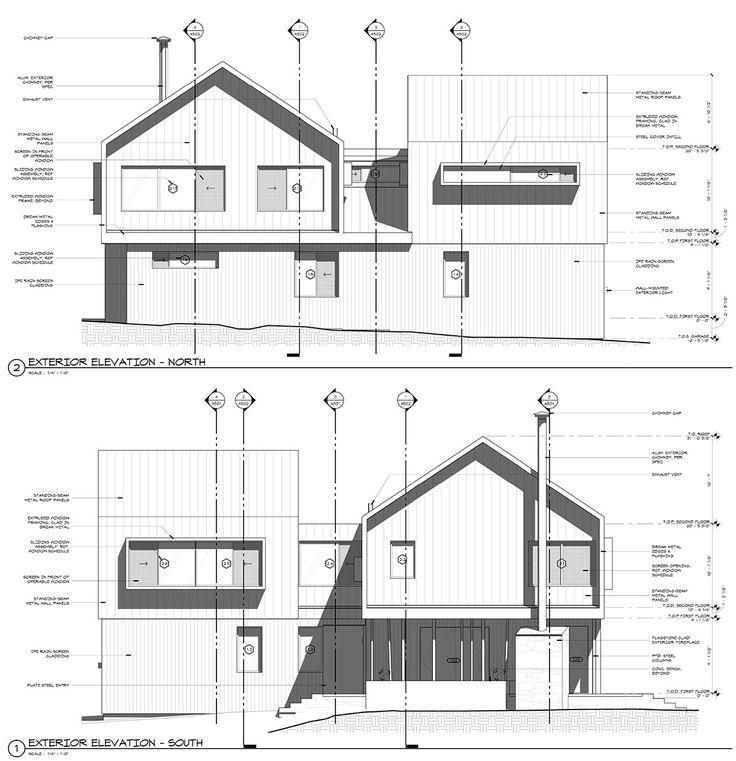 modern cabin elevations drawings bob borson architecture