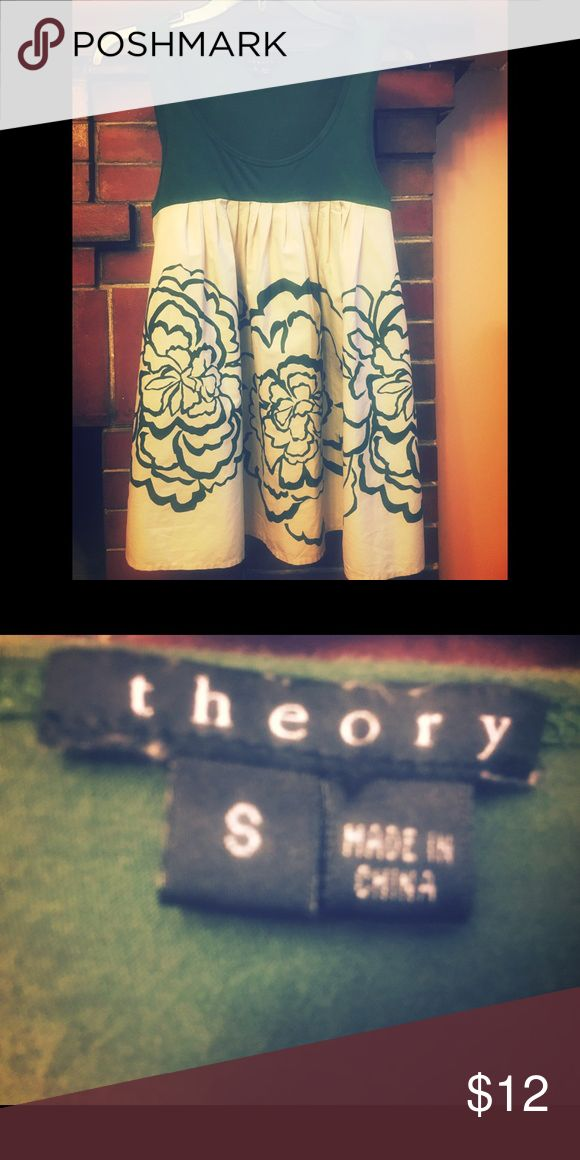 Theory (S) pine green/cream flouncy sleeveless top Theory (S) pine green/cream flouncy sleeveless top; dark fitted tank attached to floral billowing bottom half...cotton & cold-water washable, teeny hole near label where sensor tag was Theory Tops
