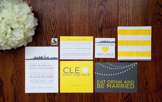 Wedding Invitations Cleveland: Cleveland City Skyline Wedding Invitation Suite
