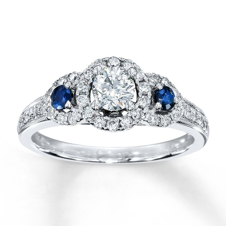 Silver Ring With Sapphires And Diamonds