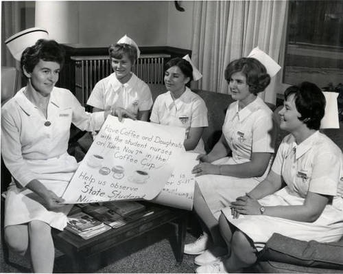 Silver Lake College nursing students, Manitowoc, Wisconsin, 1960.  via: Silver Lake College by way of Past and Present: A Digital History of Wisconsin Independent Colleges and Universities