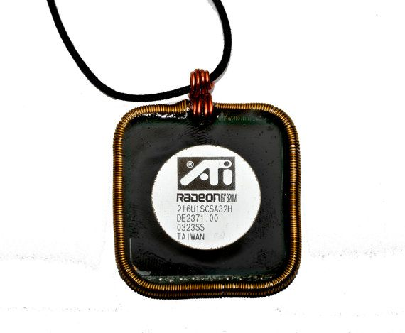 Techie Graphics Processor Pendant Necklace. by thelongwayround
