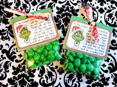 Grinch pills with M's. Easy and inexpensive Christmas craft.