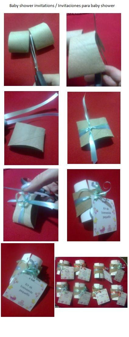 Usando tubos de cartón puedes hacer lindas invitaciones para un baby shower. L.P.J.V.