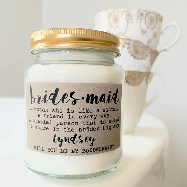 """Will you be my bridesmaid?"" candle. Click on the image to see our full gallery of fun ways on how to ask someone to be your bridesmaids."