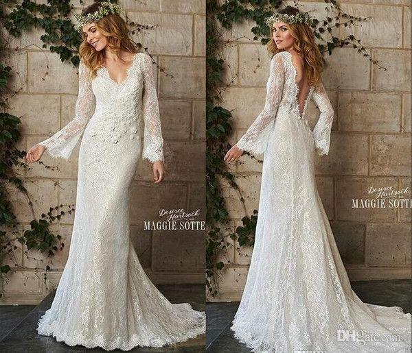 Una línea de vestidos de novia de estilo bohemio del cordón del vintage de manga larga con cuello en V sin respaldo vestidos de novia Playa Jardín Primavera vestidos de boda 2015 Nueva WZ