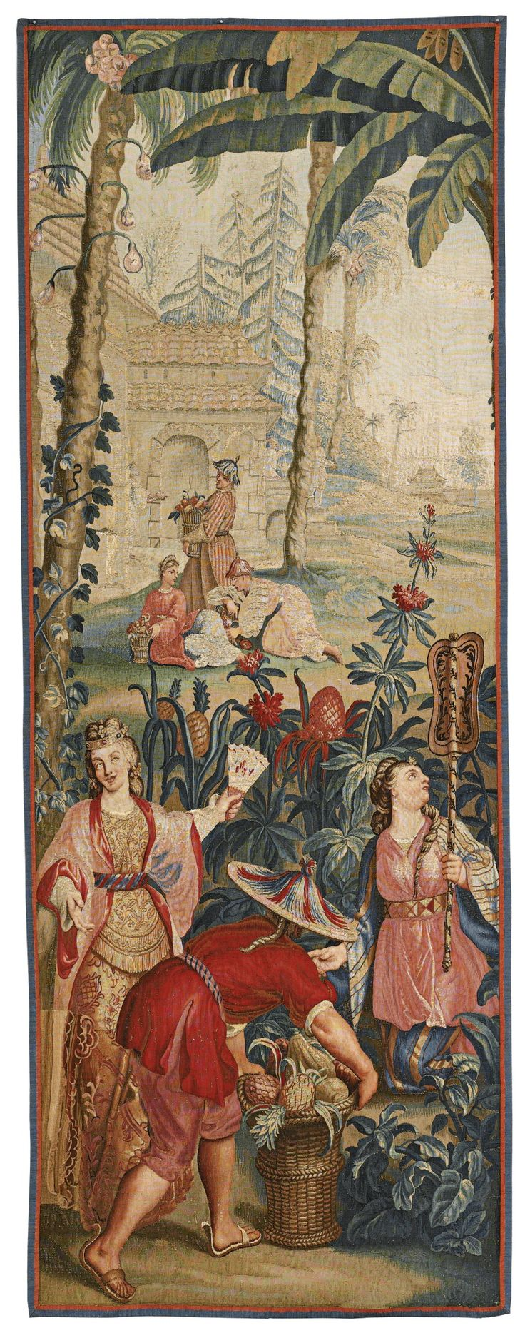 "A FRENCH CHINOISERIE TAPESTRY PANEL, DEPICTING 'GATHERING PINEAPPLES', FROM A SERIES OF THE EMPEROR OF CHINA, AFTER DESIGNS BY GUY LOUIS VERNANSAL, JEAN-BAPTISTE BELIN DE FONTENAY, AND ""BAPTISTE"" MONNOYER  SECOND QUARTER 18TH CENTURY, BEAUVAIS"
