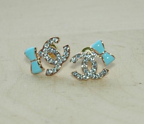 Love the teal bows-chanel earrings loveee